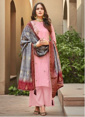 Silk Pink Embroidered Palazzo Salwar Suit