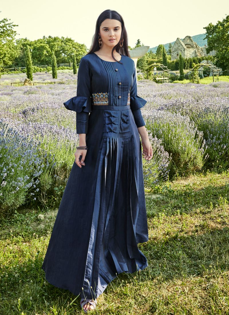 Silk Readymade Gown in Blue