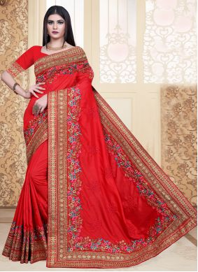 Silk Red Embroidered Contemporary Saree