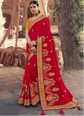 Silk Red Embroidered Traditional Designer Saree