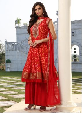 Silk Red Readymade Suit