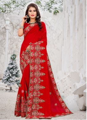 Silk Red Embroidered Saree