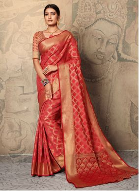 Silk Red Weaving Traditional Saree