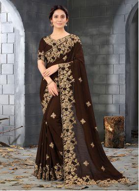 Silk Resham Designer Saree in Brown