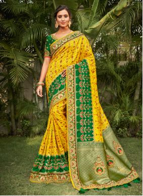 Silk Resham Green and Yellow Traditional Saree
