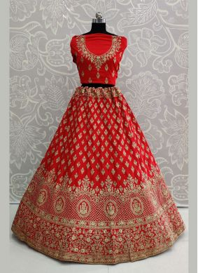 Silk Resham Red Designer Lehenga Choli