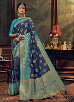 Blue Silk Sangeet Designer Traditional Saree