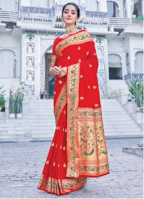 Red Weaving Silk Saree For Party