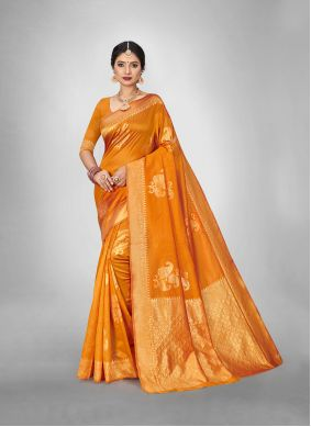 Gold Silk Saree For Reception