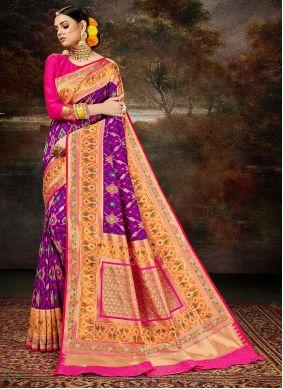 Silk Saree Weaving Banarasi Silk in Purple