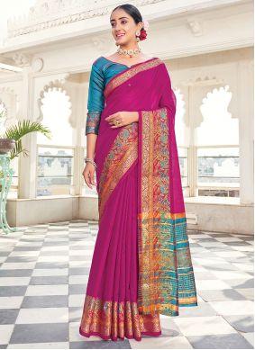Silk Saree Weaving Khadi Silk in Purple