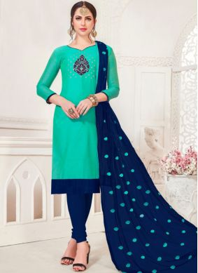 Silk Sea Green Churidar Salwar Suit