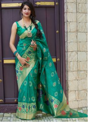 Silk Sea Green Weaving Designer Contemporary Style Saree