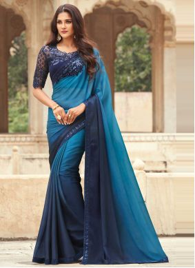 Blue Embroidered Silk Shaded Saree