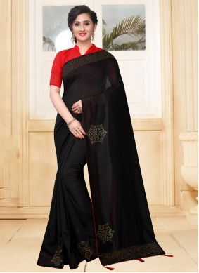 Silk Stone Black Designer Saree