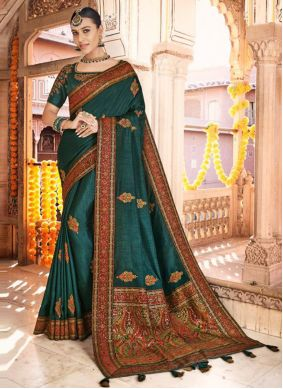 Silk Teal Embroidered Designer Traditional Saree