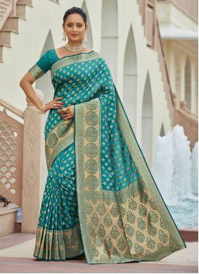 Silk Teal Zari Traditional Saree