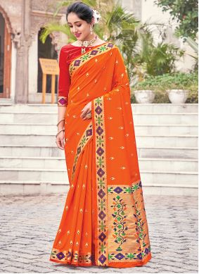 Silk Traditional Saree in Orange