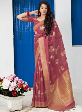 Silk Traditional Saree in Rust