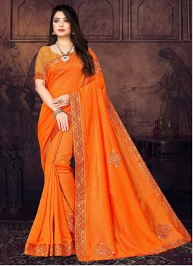Silk Trendy Saree in Orange