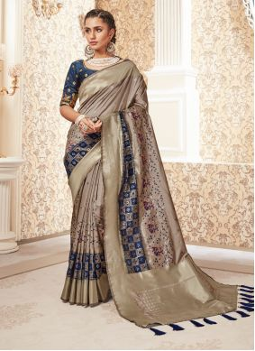 Silk Weaving Classic Designer Saree in Beige