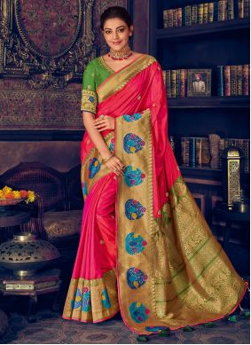 Silk Weaving Classic Designer Saree in Pink