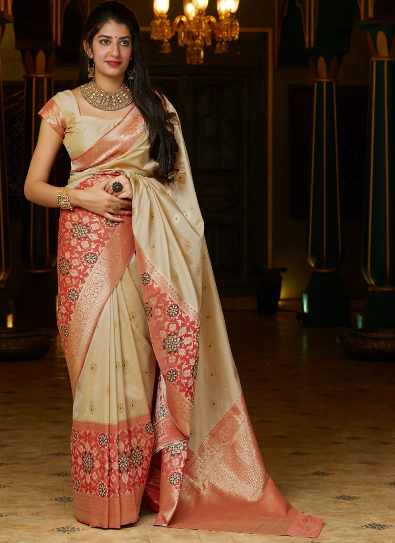 Silk Weaving Cream Traditional Saree