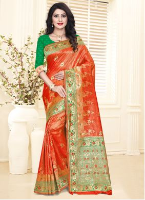 Silk Weaving Green and Red Designer Traditional Saree