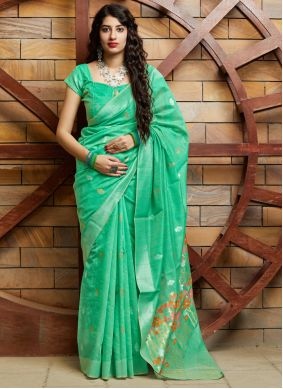 Silk Weaving Green Contemporary Saree