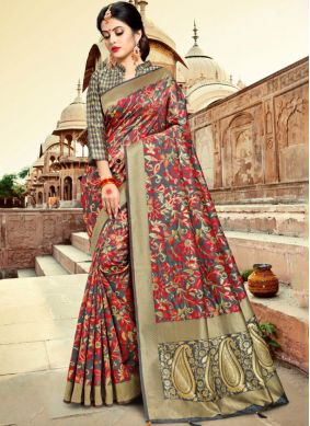 Silk Weaving Grey Trendy Saree