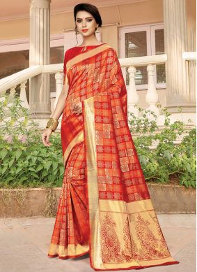 Silk Weaving Orange Silk Saree