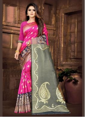 Silk Weaving Pink Contemporary Saree