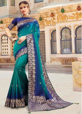 Silk Weaving Traditional Saree in Blue and Teal