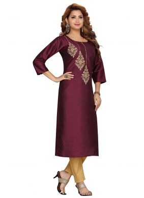 Silk Wine Fancy Party Wear Kurti