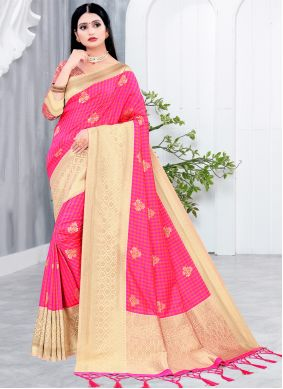 Silk Woven Traditional Saree in Hot Pink