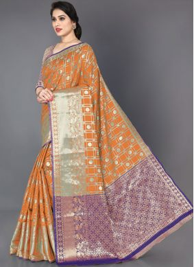 Silk Woven Trendy Saree in Mustard