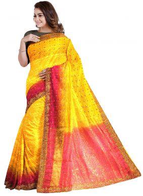 Silk Yellow Handwork Designer Saree