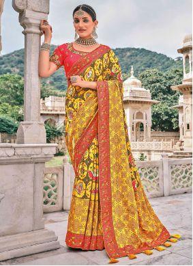 Silk Yellow Traditional Saree