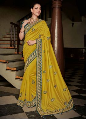 Silk Yellow Weaving Contemporary Saree