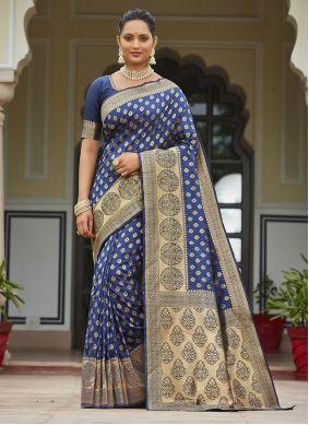Silk Zari Traditional Saree in Blue