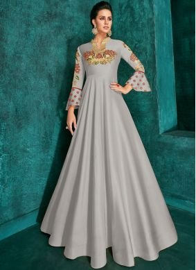 Silver Embroidered Silk Designer Gown