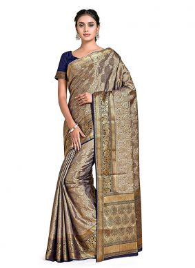 Silver Printed Reception Designer Traditional Saree