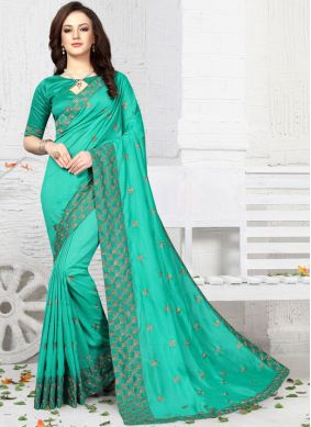 Simplistic Art Silk Sea Green Designer Traditional Saree
