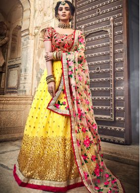Simplistic Embroidered Yellow Designer Lehenga Choli