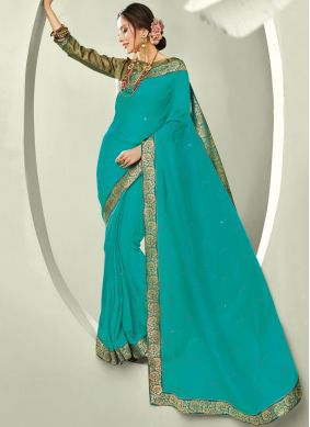 Simplistic Sea Green Ceremonial Trendy Saree