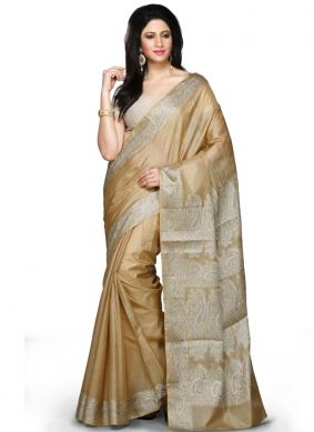 Simplistic Weaving Beige Art Banarasi Silk Designer Traditional Saree