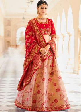 Snazzy Art Silk Pink Embroidered Lehenga Choli