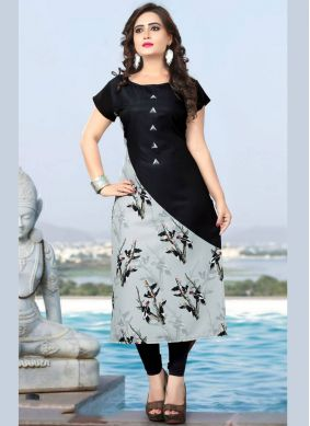 Snazzy Black Faux Crepe Casual Kurti