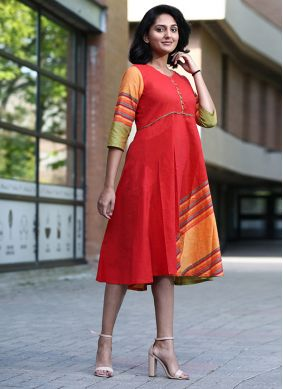 Snazzy Cotton Printed Red Party Wear Kurti