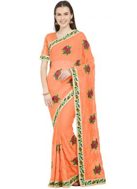 Snazzy Embroidered Faux Chiffon Saree